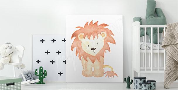 Obraz z rysunkiem lwiątka