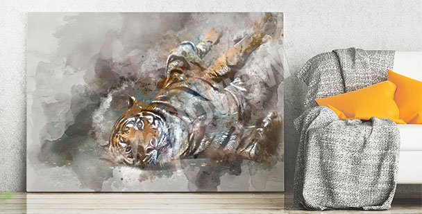 Obraz z tygrysem akwarela