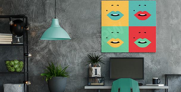Obraz z ustami w czterech kolorach