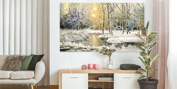 Obraz z zimowym krajobrazem