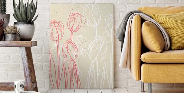 Obraz ze szkicem kwiatów