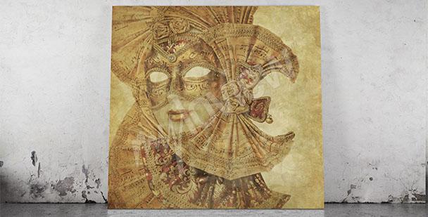 Obraz złota maska wenecka