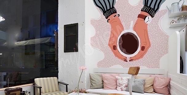 Pastelowa fototapeta do kawiarni