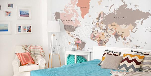 Pastelowa fototapeta mapa świata