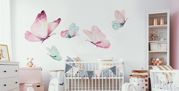 Pastelowa naklejka motyle
