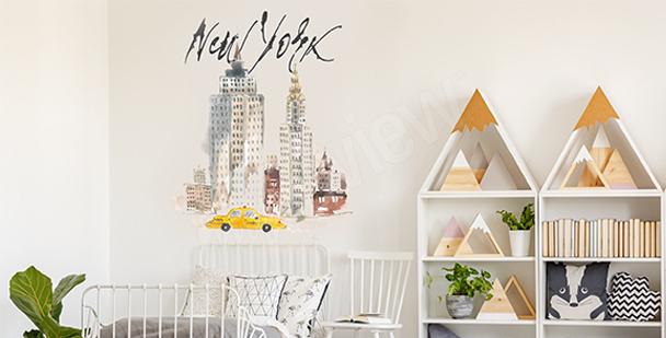 Pastelowa naklejka Nowy Jork