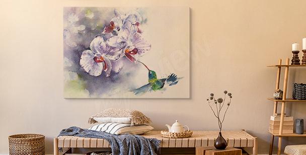 Obraz tryptyk z orchideą