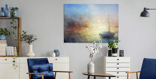 Pastelowy obraz z łódką