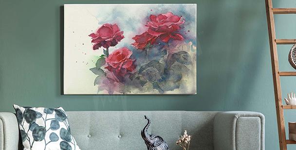 Pastelowy obraz z różami