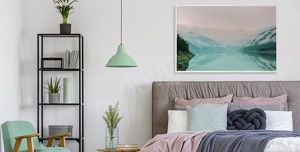 Pastelowy plakat z widokiem na jezioro