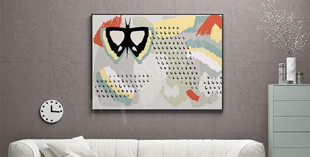 Plakat abstrakcja z motylem