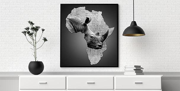 Plakat Afryka i nosorożec
