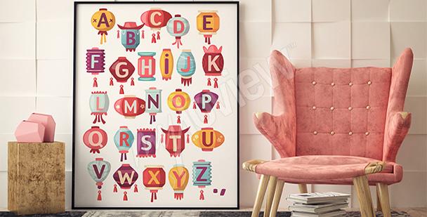 Plakat alfabet i lampiony