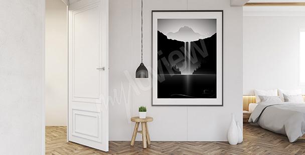 Plakat biało-czarny krajobraz do sypialni