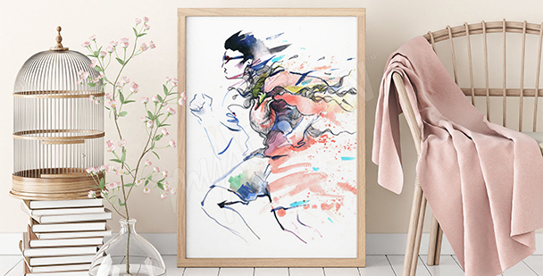 Plakat bieganie w pastelach