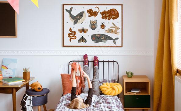 Plakat boho zwierzęta