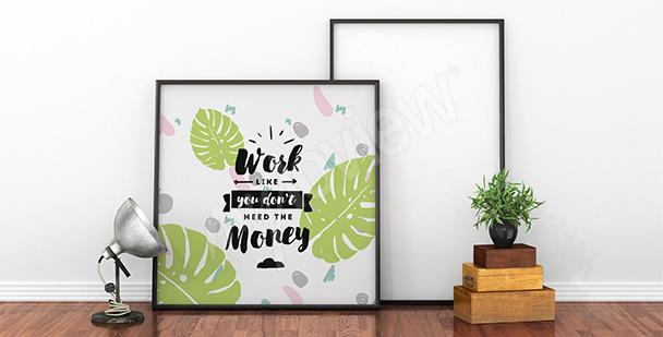 Plakat cytat i motyw liści