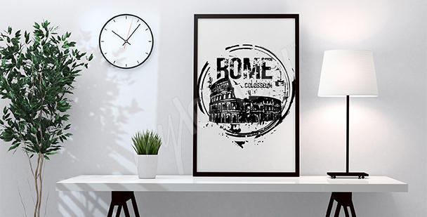 Plakat czarno-białe Koloseum