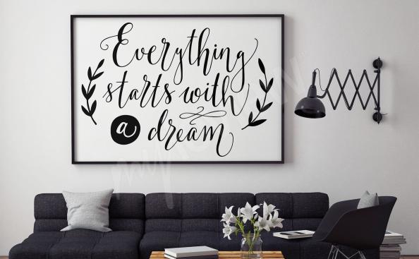 Plakat czarno-białe napisy do salonu