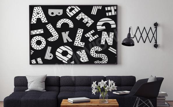 Plakat czarno-biały alfabet