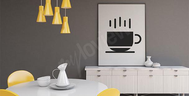 Plakat czarno-biały z filiżanką