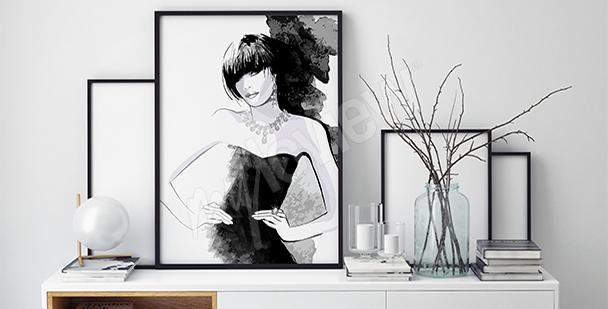 Plakat czarno-biały z kobietą