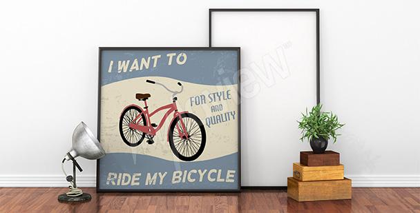 Plakat czerwony rower