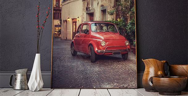 Plakat czerwony samochód
