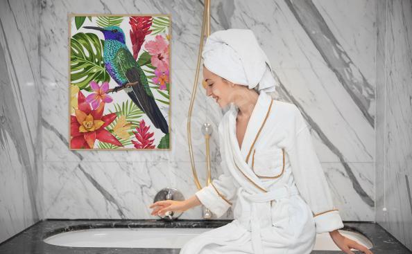 Plakat do łazienki tropikalny ptak
