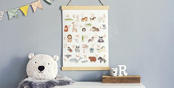 Plakat do pokoju chłopca i alfabet