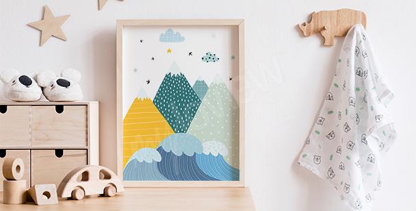 Plakat do pokoju chłopca i góry