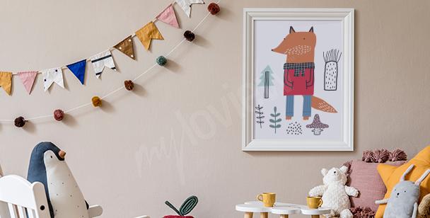 Plakat do pokoju chłopca i lis