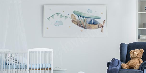 Plakat do pokoju chłopca i samolot