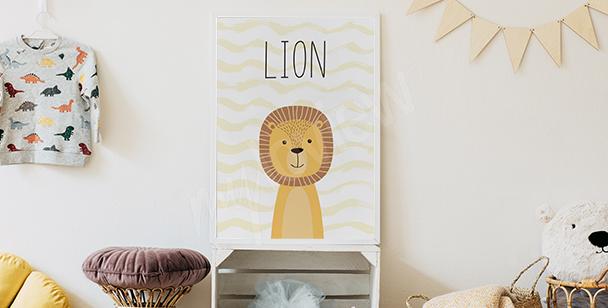 Plakat do pokoju chłopca - lew