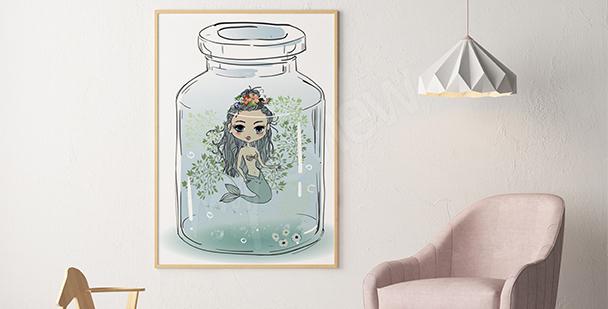 Plakat do pokoju dziewczynki syrenka