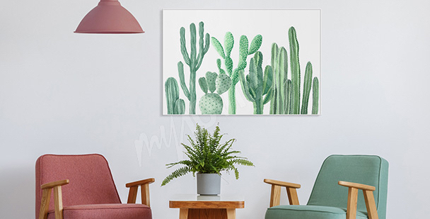 Plakat do przedpokoju kaktusy