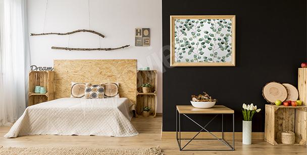 Plakat do sypialni z liśćmi