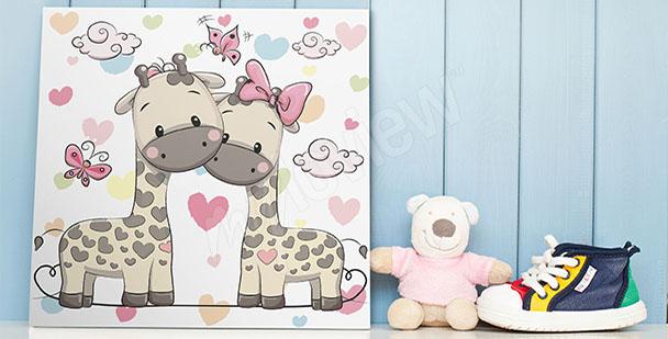 Plakat dwie żyrafy