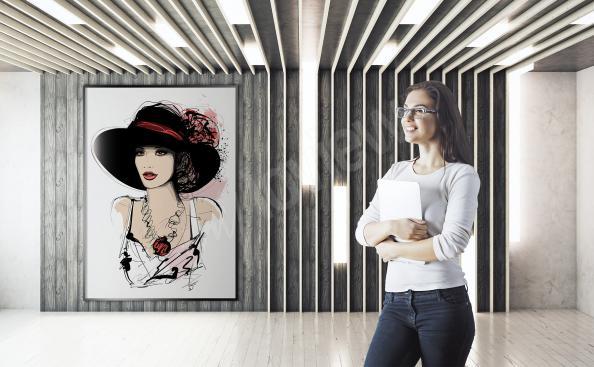 Plakat elegancka kobieta w kapeluszu