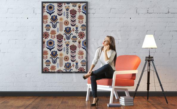 Plakat folklor z kwiatowym wzorem