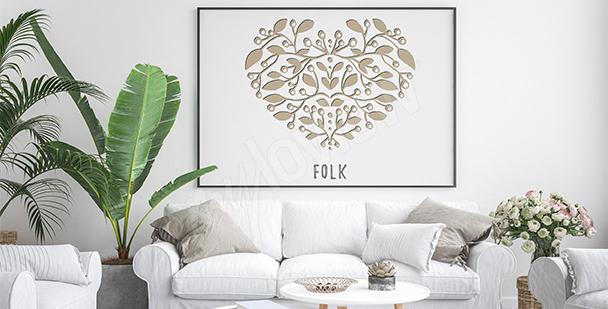 Plakat folkowe serce