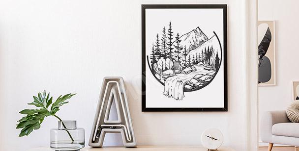 Plakat górski potok