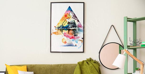 Plakat góry w akwareli
