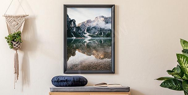 Plakat malowniczy pejzaż górski