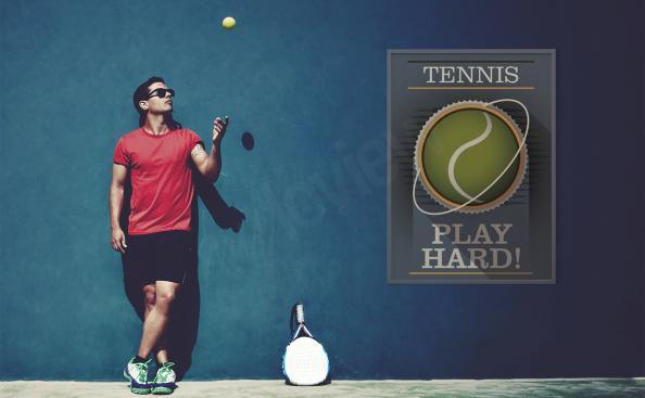 Plakat gra w tenisa