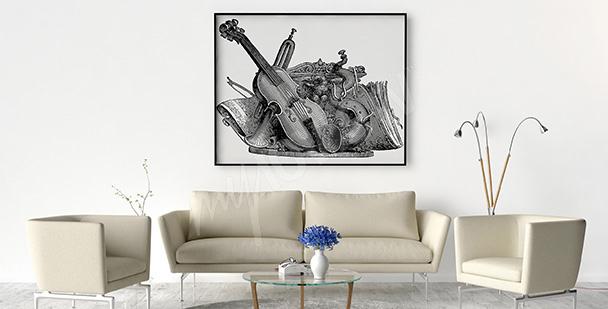 Plakat instrumenty muzyczne vintage