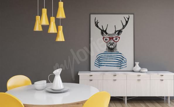 Plakat jeleń w okularach