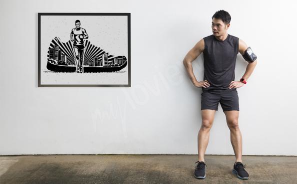 Plakat jogging czarno-biały