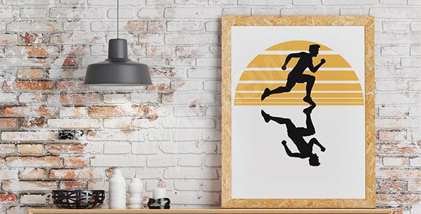 Plakat jogging o zachodzie słońca