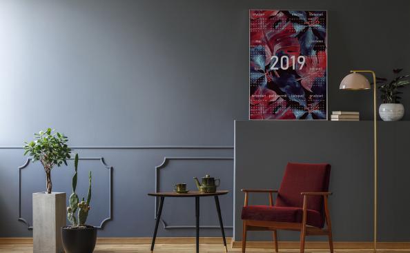 Plakat kalendarz z czerwonymi liśćmi